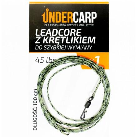 Undercarp Leadcore z krętlikiem 100cm 45lbs 1szt