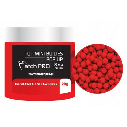 MatchPRO Top Boilies Kulki POP UP Strawberry 8mm