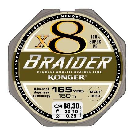 Konger Plecionka braider x8 black 0,12 150m