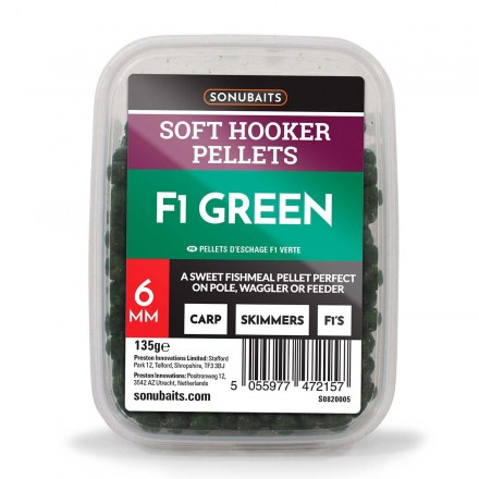 Sonubaits Soft Hooker Pellets - F1 Green // 6mm