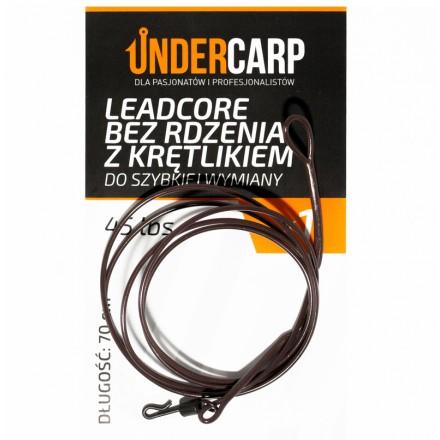 Undercarp Leadcore bez rdzenia z krętlikiem do szybkiej wymiany 70cm 45lbs